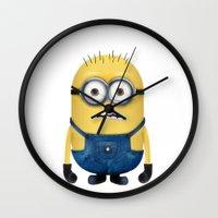 minion Wall Clocks featuring Minion  by Lyre Aloise