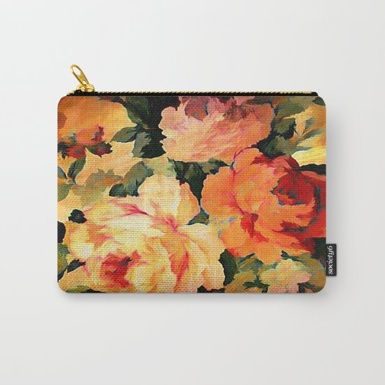 Vintage Painterly Floral Abstract Carry-All Pouch