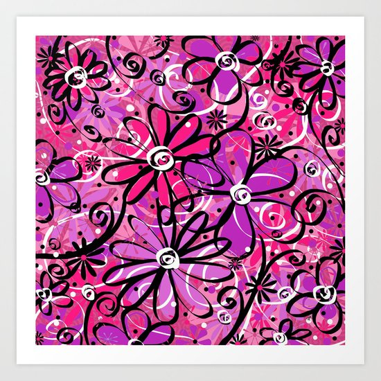 Feeling Groovy in Purplicious Pink Art Print