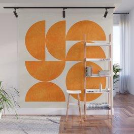 Geometric Shapes orange mid century Wall Mural