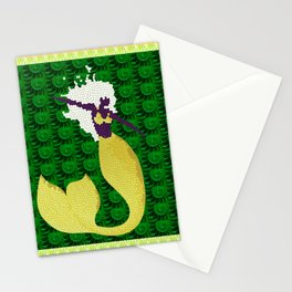 Retro Mermaid Texture Print in Green, Peach, Lavender and Lime Stationery Cards