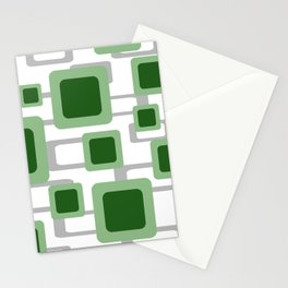 Rectangles green pattern Geometry Design Stationery Cards