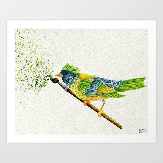 Feathers & Flecks (Canvas Background Edition) Art Print