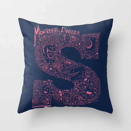 Throw Pillow Doodle : Monster Doodle Throw Pillow by Ilias Sounas Society6