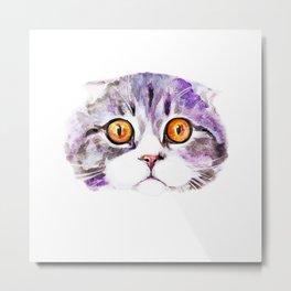 Cat with wild eyes Metal Print