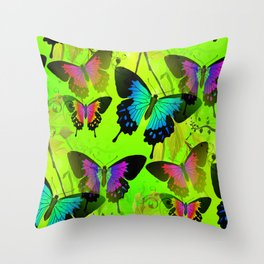 Painted Lady and Morph Butterflies Throw Pillow