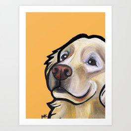 George the golden retriever (orange) Art Print