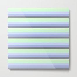 Pastel Blue Green Gray stripeS Metal Print