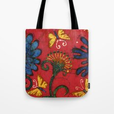 Batik butterflies and flowers on red Tote Bag