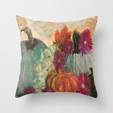 Pumpkins and Flowers Throw Pillow