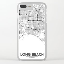 Minimal City Maps - Map Of Long Beach, California, United States Clear iPhone Case