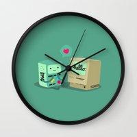 bmo Wall Clocks featuring BMO & Macintosh by solostudio