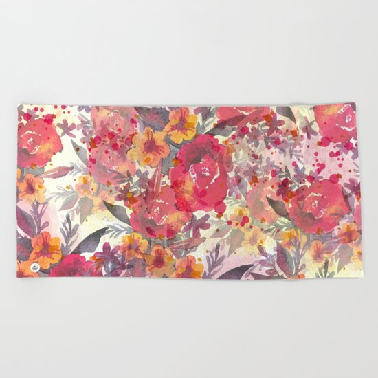 Watercolor flowers and plants Beach Towel