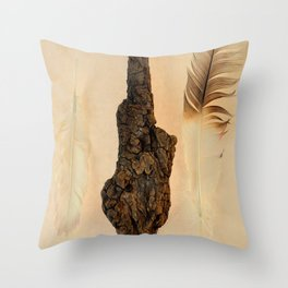 FEATHER PHOTOGRAPHY, FEATHER AND FOSSILIZED WOOD, NATURE STILL LIFE, BIRD FEATHER PRINT - WARM Throw Pillow
