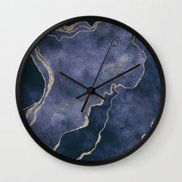Indigo Blue Gemstone Glamour Mineral Marble Watercolor Art Wall Clock