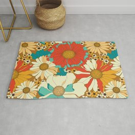 Red, Orange, Turquoise & Brown Retro Floral Pattern Rug