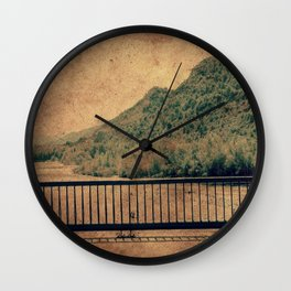Vintage river landscape and mountains Wall Clock