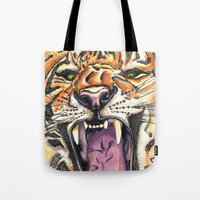 jaws Tote Bags featuring Jaws by Heaven7
