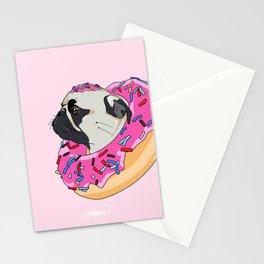 Pug Donut Strawberry Profile Stationery Cards