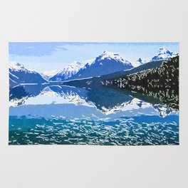 Reflection of Mountains in McDonald lake Rug
