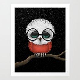 Baby Owl with Glasses and Polish Flag Art Print