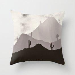 Arizona Desert Cactus Mountain Landscape Throw Pillow