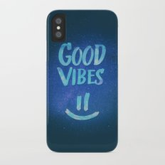 Good Vibes - Funny Smiley Statement / Happy Face (Blue Stars Edit) Slim Case iPhone X