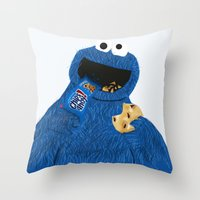 cookie monster Throw Pillows featuring Cookie Monster by Dano77