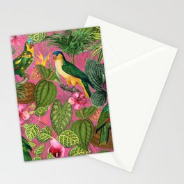Vintage & Shabby Chic - Pink Tropical Bird Summer Garden Stationery Cards