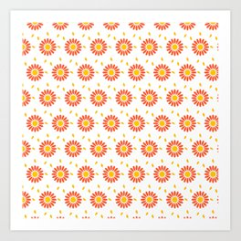 Modern orange yellow hand painted floral pattern Art Print