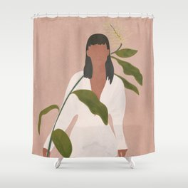 Elegant Lady holding a Flower Shower Curtain