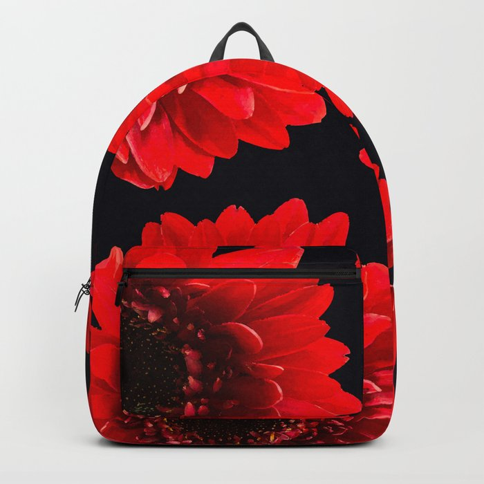 Red Flowers On A Black Background #decor #buyart #society6 Backpack