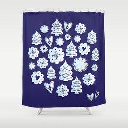 Blue christmas decoration Shower Curtain