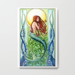 Kelp Forest Mermaid Metal Print