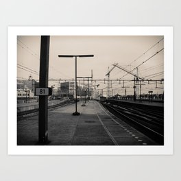 Urbanex 39 Amsterdam Centraal Black and White Art Print