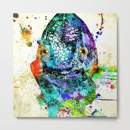 Chameleon Front View Grunge Metal Print