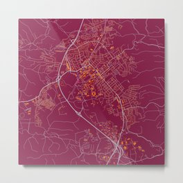 BLACKSBURG VIRGINIA COLLEGIATE MAP HANDRAWN Metal Print