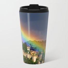 Rainbow over Dar alHorra Palace at Granada. Spain Travel Mug