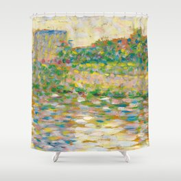 """Georges Seurat """"The Seine at Courbevoie"""" Shower Curtain"""