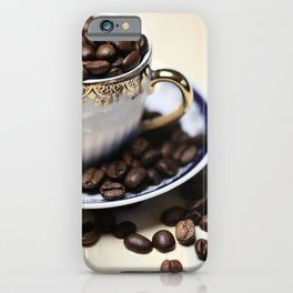 Coffee beans in the old cappuccino cup iPhone Case
