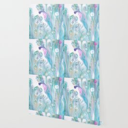 Pastel Blue Flows - Abstract Acrylic Art by Fluid Nature Wallpaper