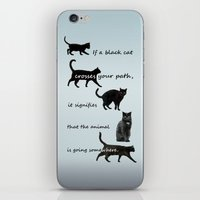 marx iPhone & iPod Skins featuring Black cat crossing, v.2 by IvanaW