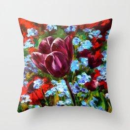 Purple Tulip in Field Throw Pillow
