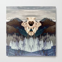 Rocky Mountain Bear Skull Metal Print