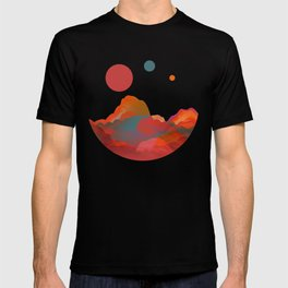 """Coral Sci-Fi Mountains"" T-shirt"