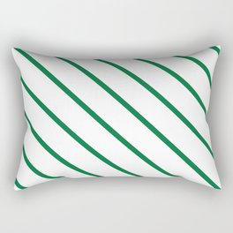 Diagonal Lines (Dark Green & White Pattern) Rectangular Pillow