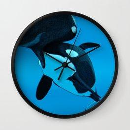 Orca and Calf Wall Clock
