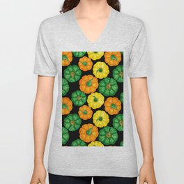 Pumpkins watercolor pattern 3 Unisex V-Neck