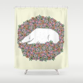Bear in the Flowers Shower Curtain