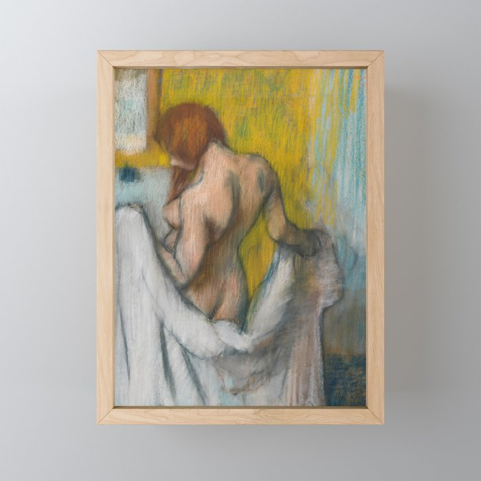 Woman with a Towel by Edgar Degas Framed Mini Art Print